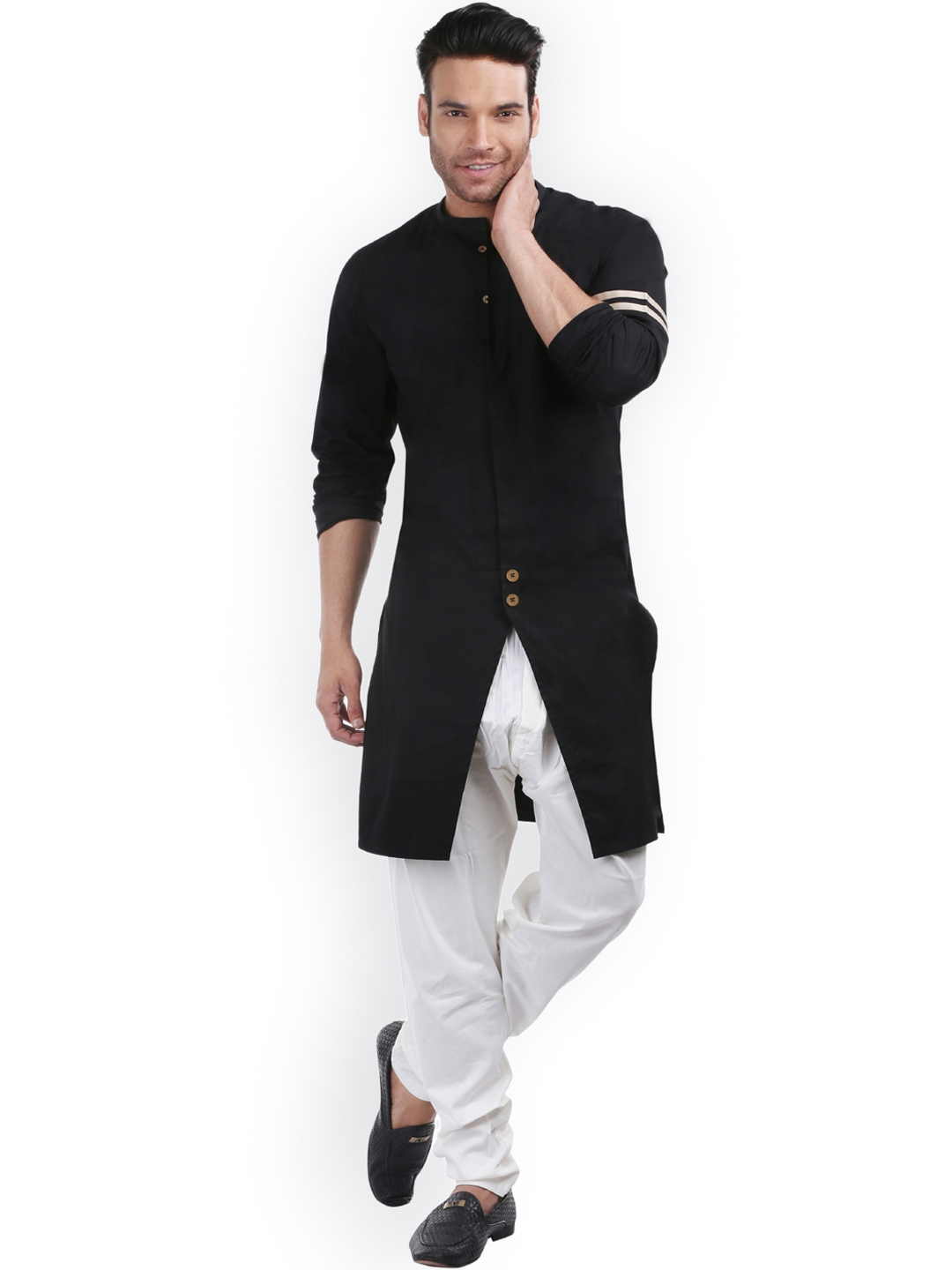 b2e52c43cb6 Buy Zotw Men Black Solid Straight Kurta - Kurtas for Men 4324023 ...