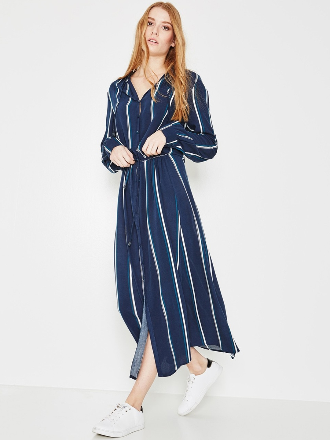 Buy Promod Women Navy Blue   White Striped Maxi Dress - Dresses for ... 85ae7a274