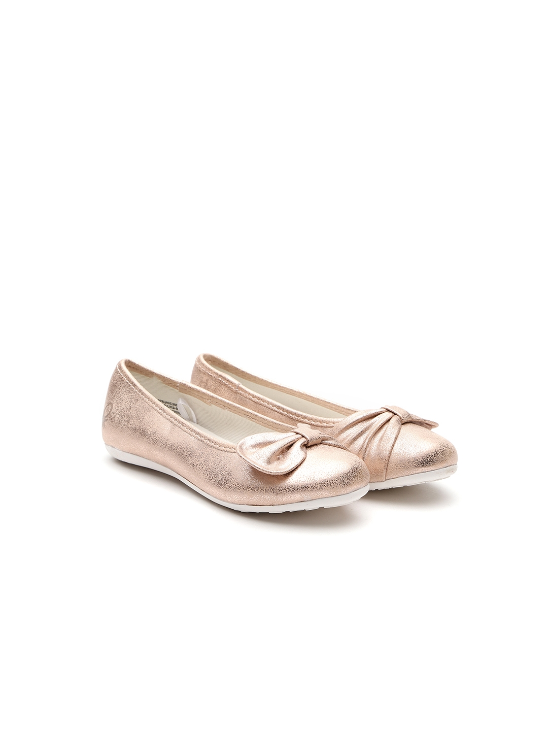 a30303df022f United Colors of Benetton Girls Rose Gold-Toned Solid Synthetic Ballerinas