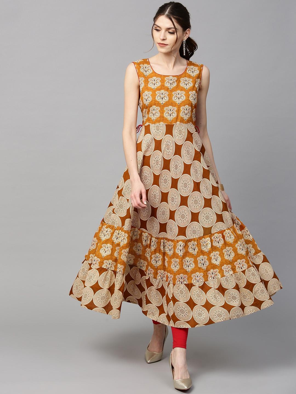 7e03d69f37 Buy GERUA Women Mustard Yellow & Beige Printed Tiered Anarkali Kurta ...