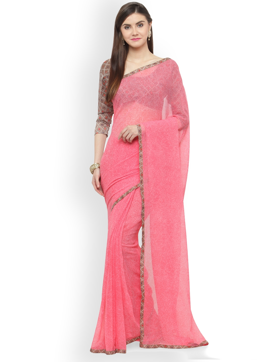 02687ba7a Buy Shaily Pink Printed Pure Georgette Saree - Sarees for Women ...