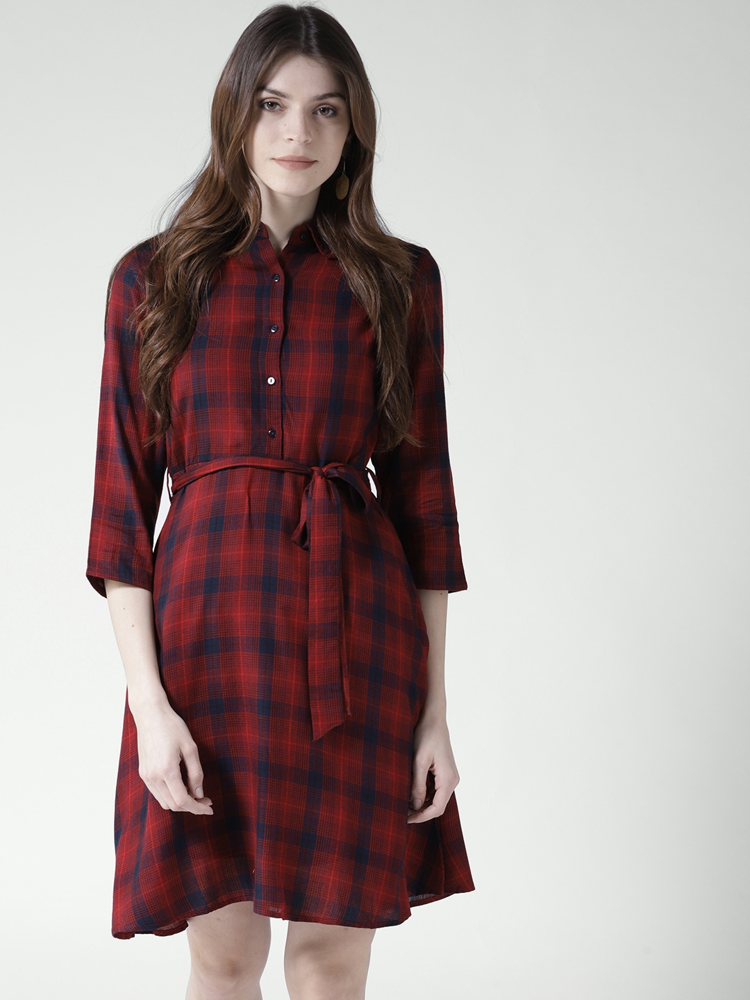 0bd4957059a Buy 20Dresses Women Red   Navy Checked Shirt Dress - Dresses for ...