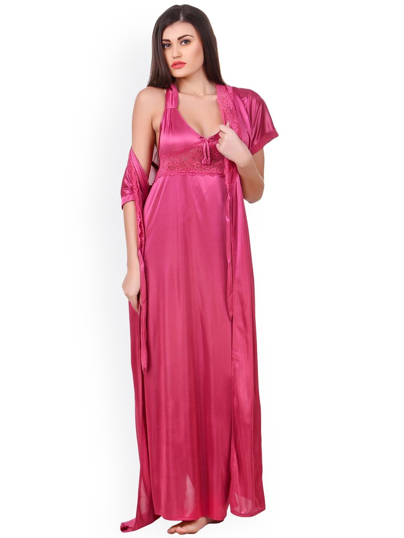 Buy Fasense Women Pink Solid Nightdress OM007C3 - Nightdress for ... 9f9337b38