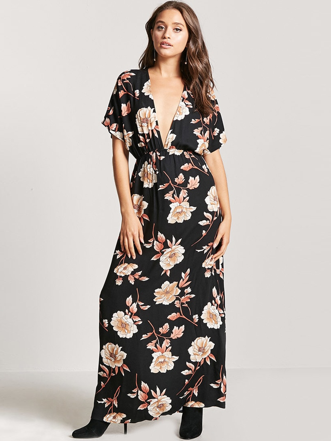 b053c893131 Buy FOREVER 21 Women Black Floral Printed A Line Dress - Dresses for ...