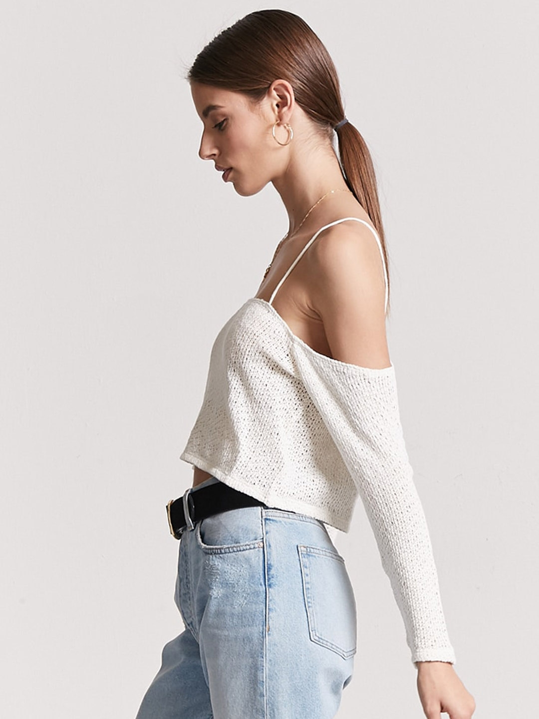 8cfbe68f60ad0 Buy FOREVER 21 Women Off White Solid Cold Shoulder Crop Top - Tops ...