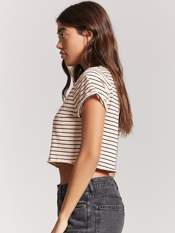 e647ca7ff22ccc Buy FOREVER 21 Women Peach Coloured   Black Striped Crop T Shirt ...