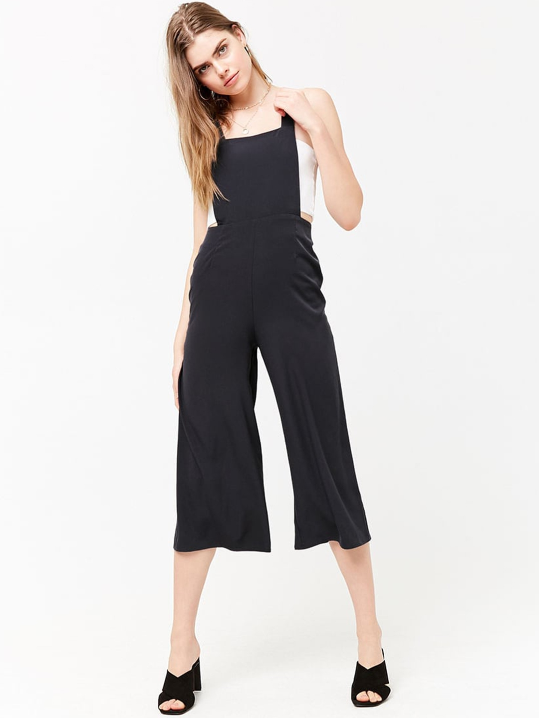 63c34ae61d2 Buy FOREVER 21 Women Black Solid Culotte Jumpsuit - Jumpsuit for ...