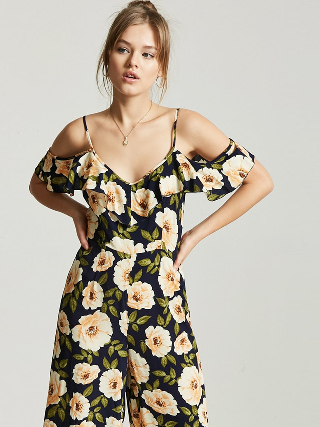aef0aa6c72 Buy FOREVER 21 Navy Blue   Off White Floral Print Basic Jumpsuit ...