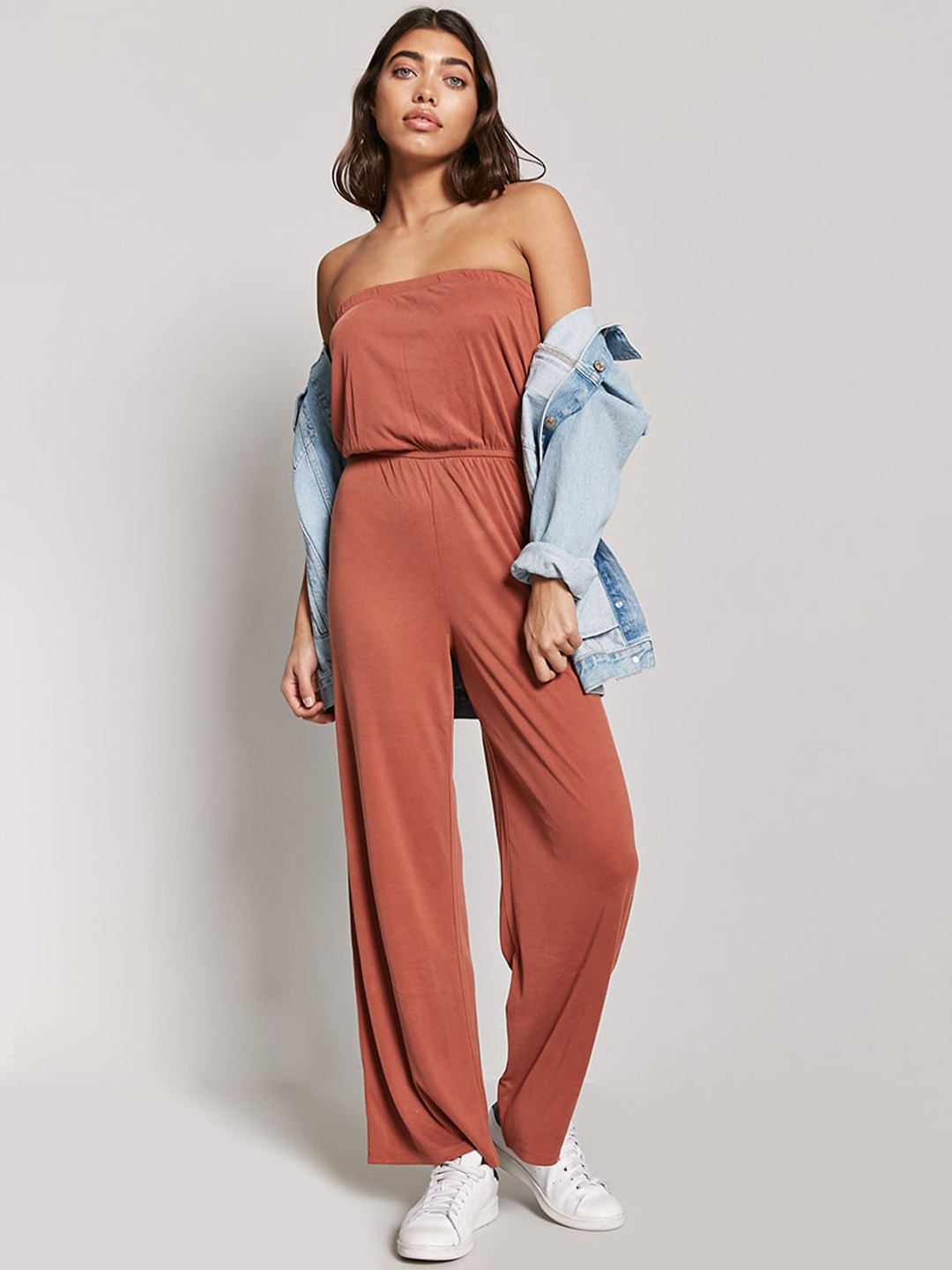 8a1fb1c03be Buy FOREVER 21 Rust Brown Solid Tube Jumpsuit - Jumpsuit for Women ...