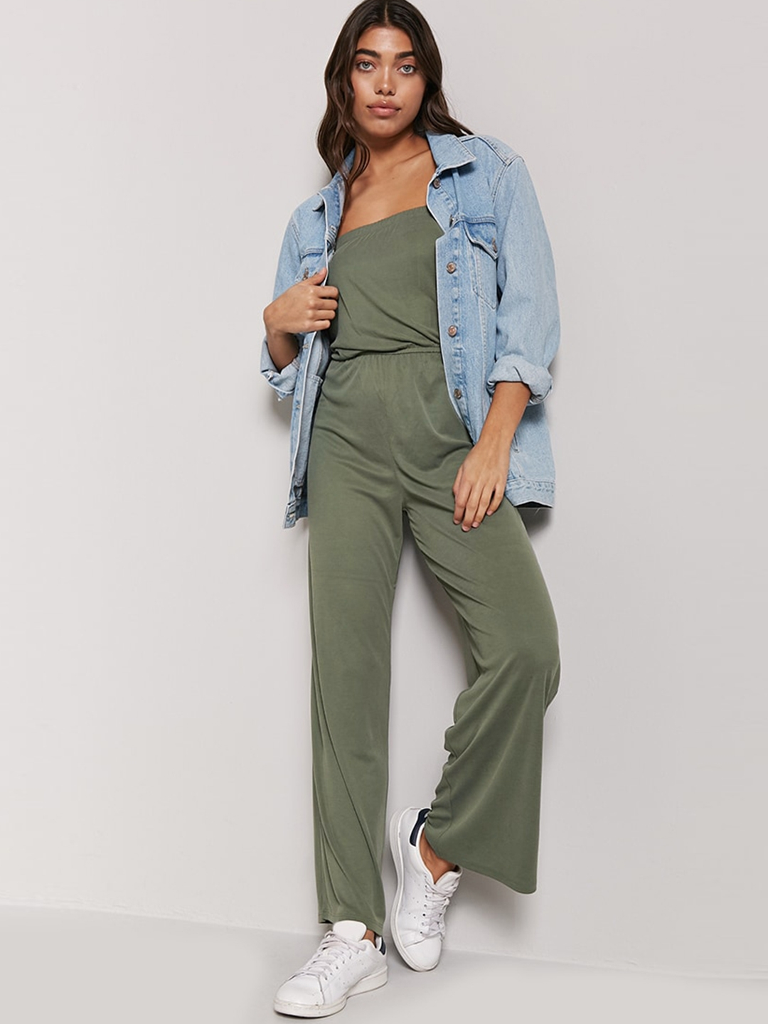 Buy Forever 21 Olive Green Solid Tube Jumpsuit Jumpsuit For Women