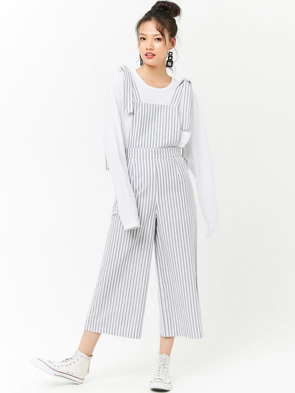 b297c373b36 Buy FOREVER 21 Black   White Striped Capri Jumpsuit - Jumpsuit for ...