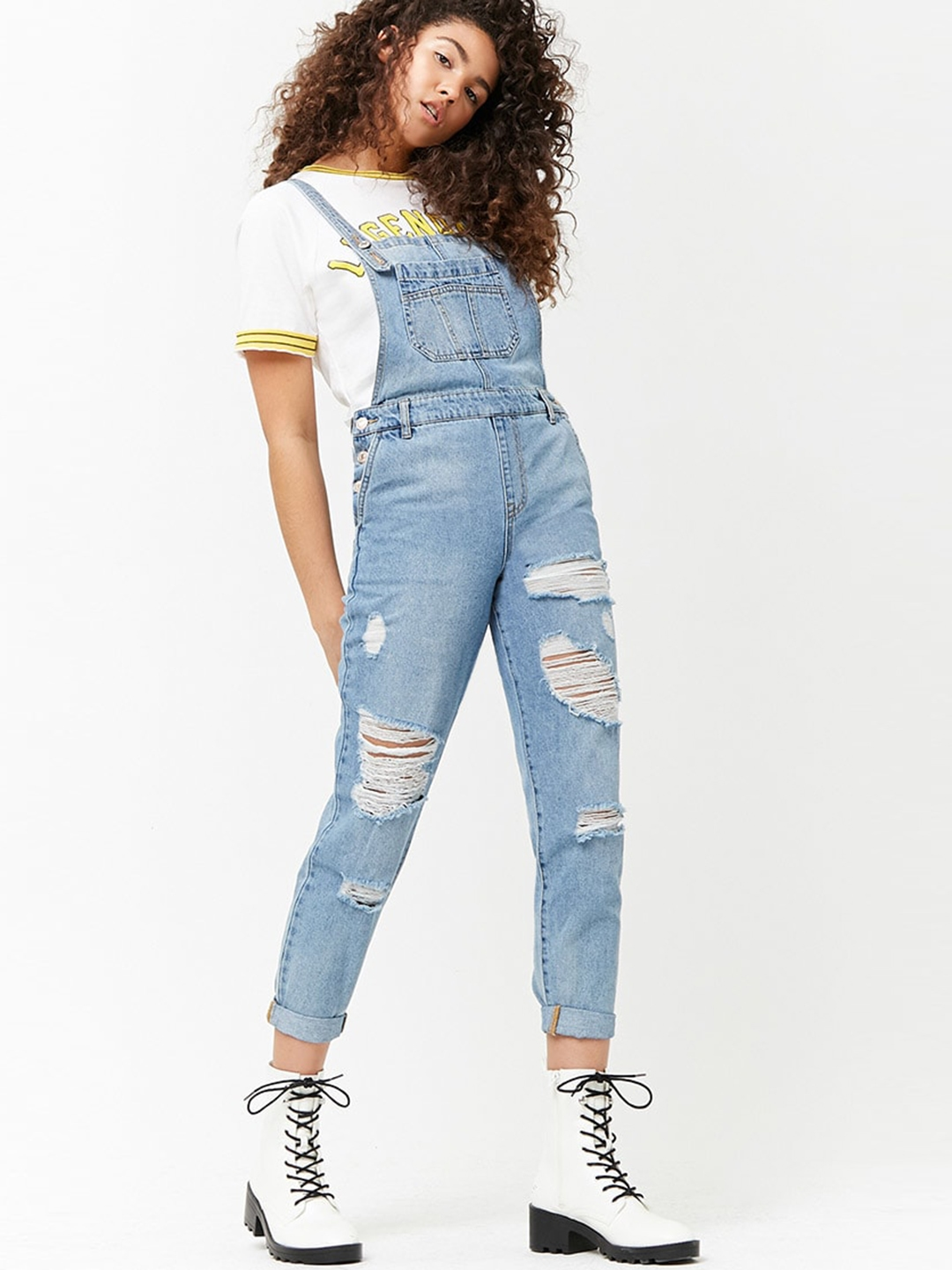 86826775ca Buy FOREVER 21 Blue Washed Distressed Denim Dungarees - Dungarees ...