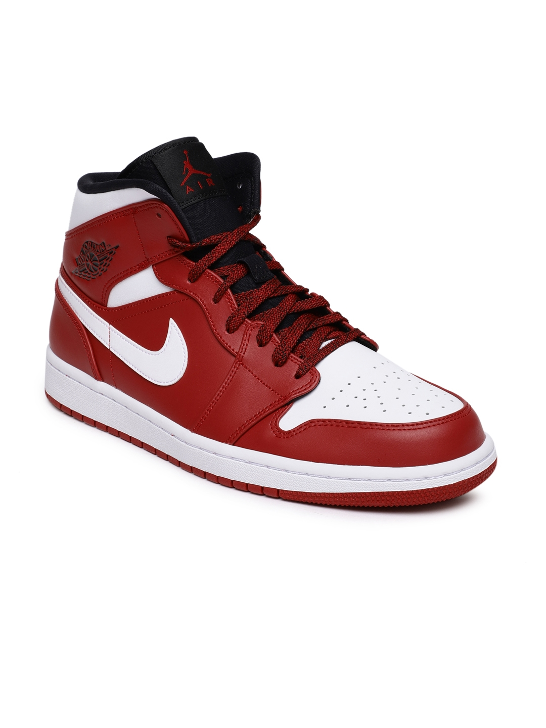 73fd50800850ac Buy Nike Men Red   White Air Jordan 1 MID Leather Basketball Shoes ...