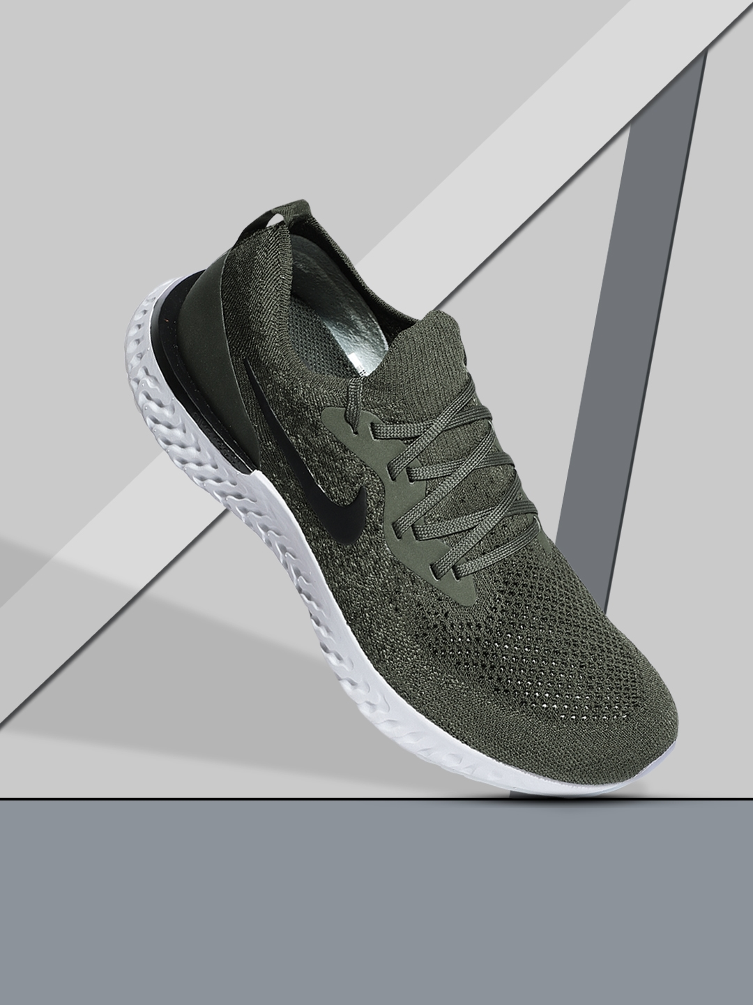 best loved ba1d6 9ea6a Buy Nike Men Olive Green Epic React Flyknit Running Shoes - Sports ...