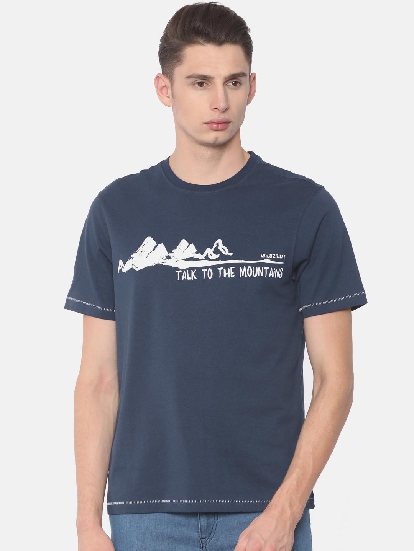 0720d0691 Buy Wildcraft Men Navy Printed Round Neck Mountain Graphic T Shirt ...