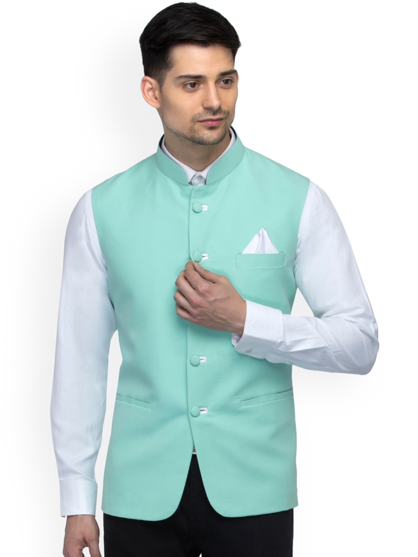 06cd6ccca Buy Favoroski Men s Sea Green Nehru Jacket - Nehru Jackets for Men 4331645