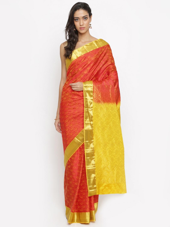 The Chennai Silks Classicate Orange Pure Silk Woven Design Kanjeevaram Saree