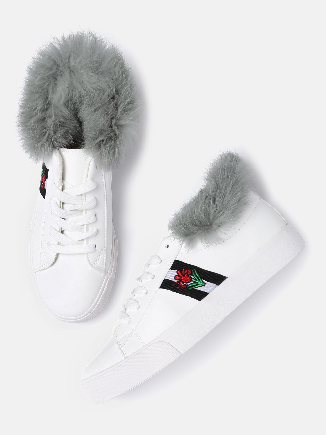 White Sneakers With Faux Fur Detail