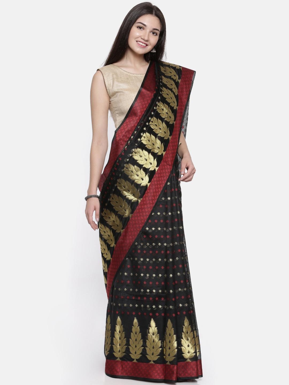 The Chennai Silks Black Woven Design Organza Banarasi Silk Saree