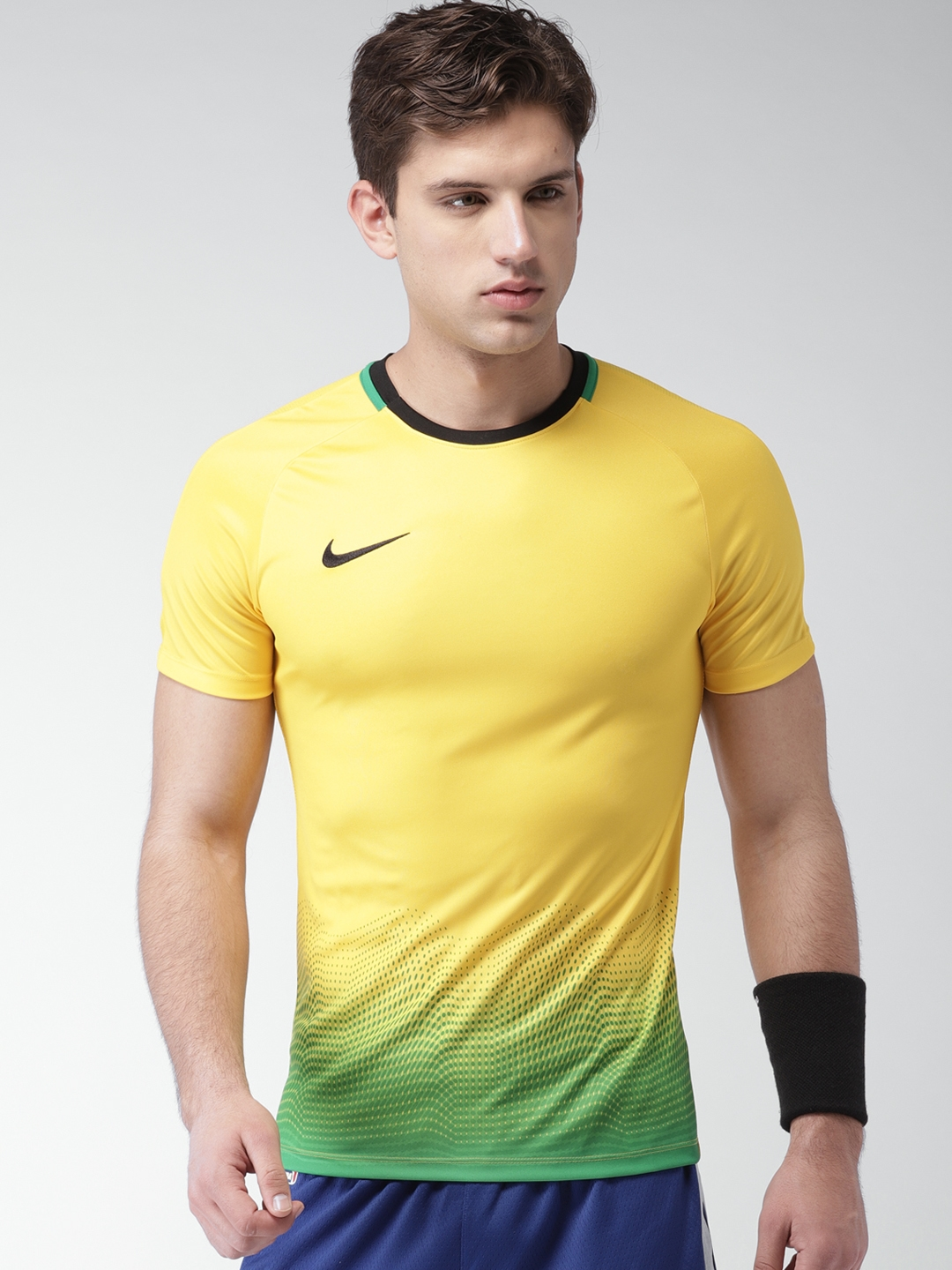 579bcc61bdd4 Buy Nike Yellow Printed Slim Fit Academy Sports Football T Shirt ...