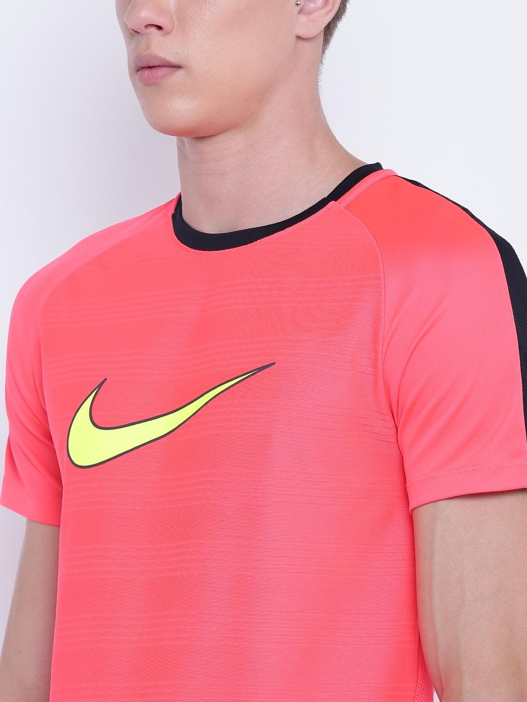 54a73513 Buy Nike Men Coral Pink Printed AS M NK DRY ACDMY TOP SS GX2 Slim ...