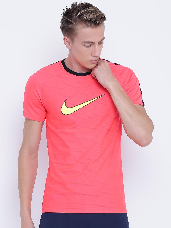 e34b8702 Nike Men Coral Pink Printed AS M NK DRY ACDMY TOP SS GX2 Slim Fit Football T -shirt