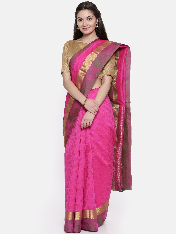 The Chennai Silks Classicate Pink Woven Design Pure Silk Saree