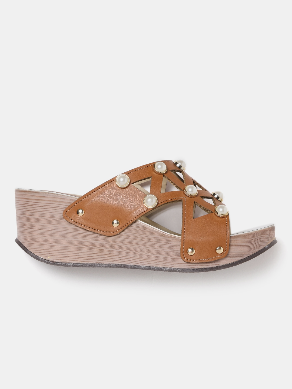 858967569 Buy Marc Loire Women Tan Brown Embellished Sandals - Heels for Women ...