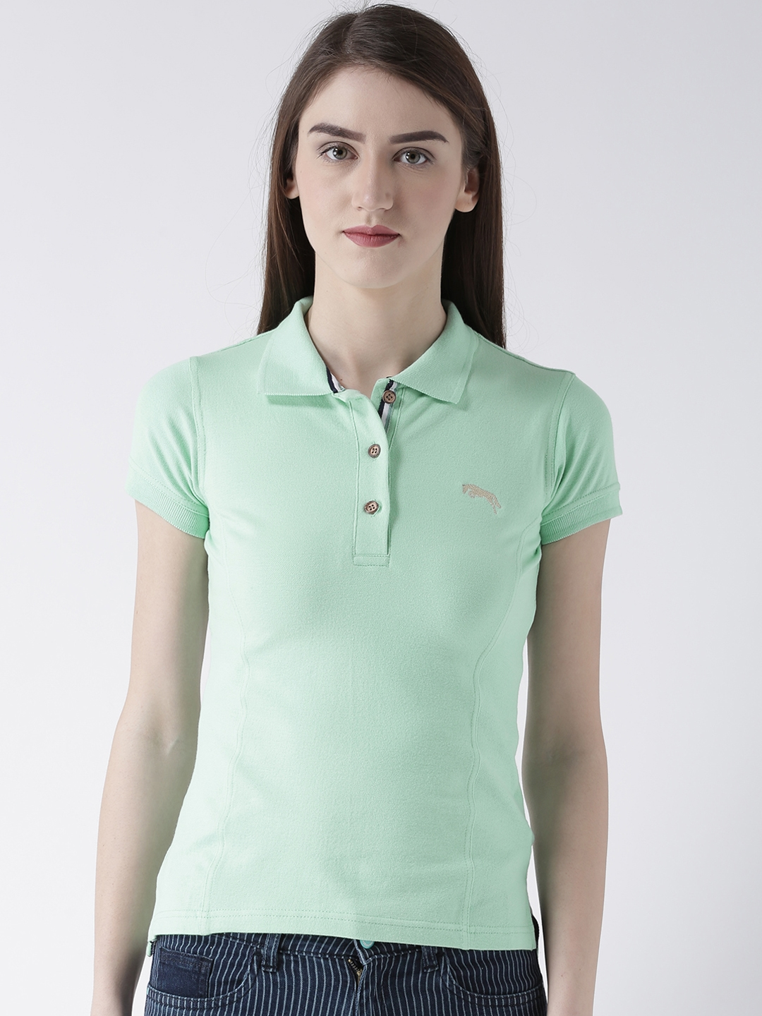 Buy Jump Usa Women Green Solid Polo Collar T Shirt Tshirts For