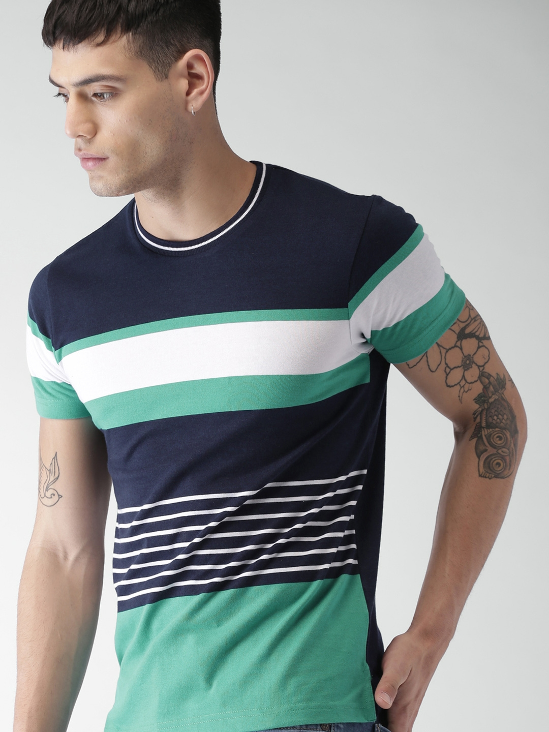 9032c691e084 Buy INVICTUS Men Navy Blue Striped Slim Fit Round Neck T Shirt ...