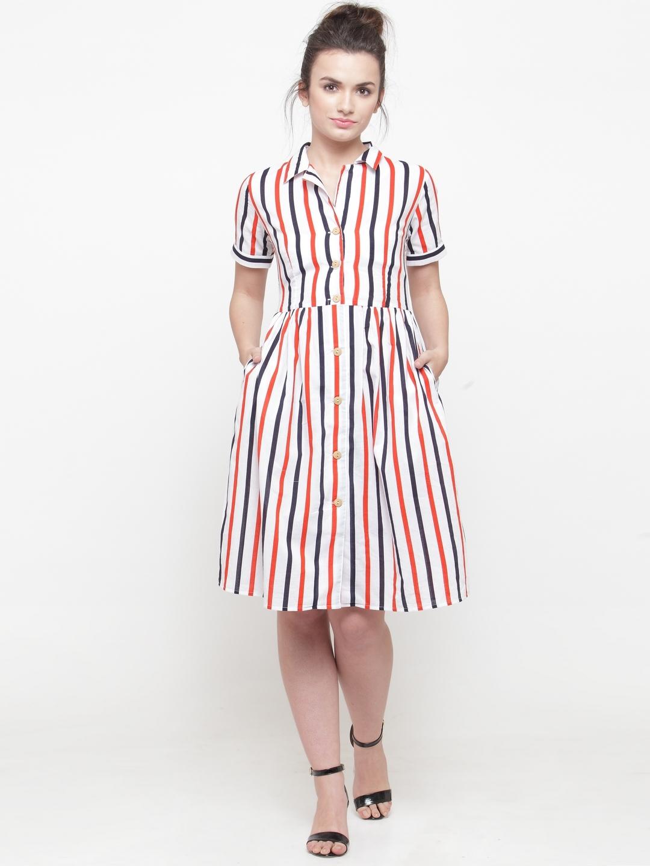 c2acf2d55a4b73 Buy PlusS Women White & Red Striped Shirt Dress - Dresses for Women ...