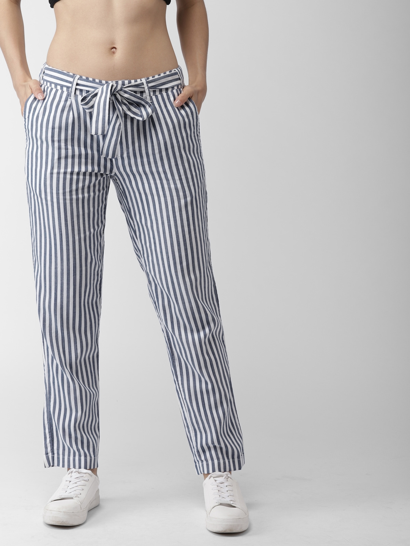 c931fb7dc9c48 Tommy Hilfiger Women Blue & White Smart Fit Striped Regular Trousers