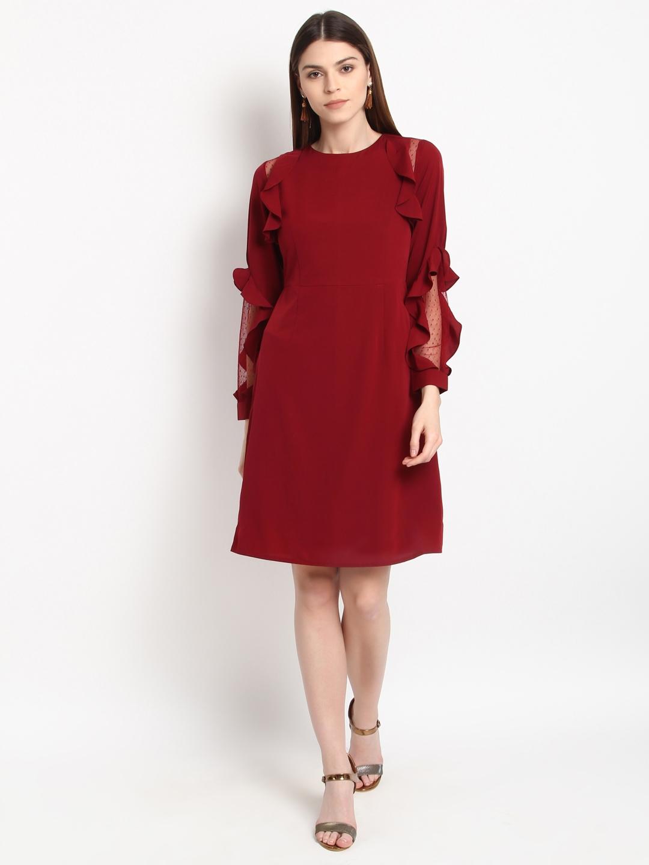 987b9919f5fb Buy RARE Women Maroon Solid A Line Dress - Dresses for Women 4374496 ...