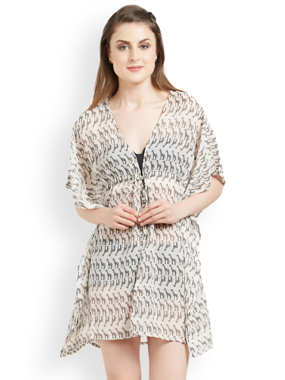 069825fd38 The Beach Company Women Off White & Black Printed Kimono Cover-Up Dress