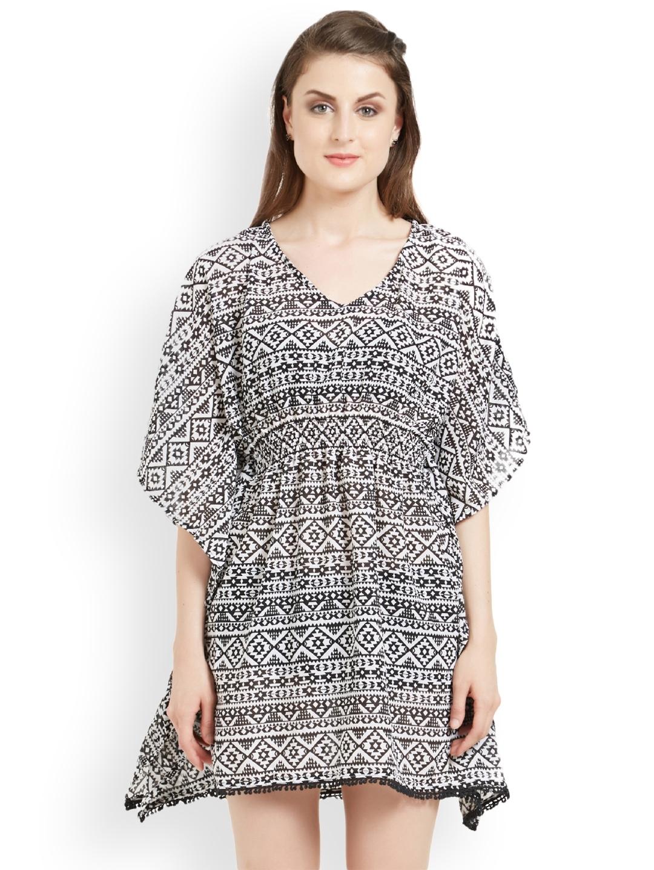 f86ca646b1 Buy The Beach Company Women Black & White Printed Cover Up Dress ...
