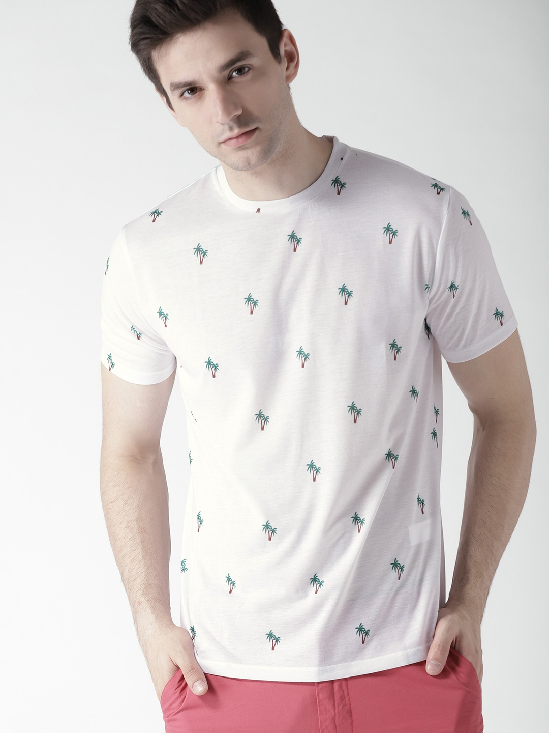 aacf1e4e5 Buy FOREVER 21 Men White Printed Round Neck T Shirt - Tshirts for ...