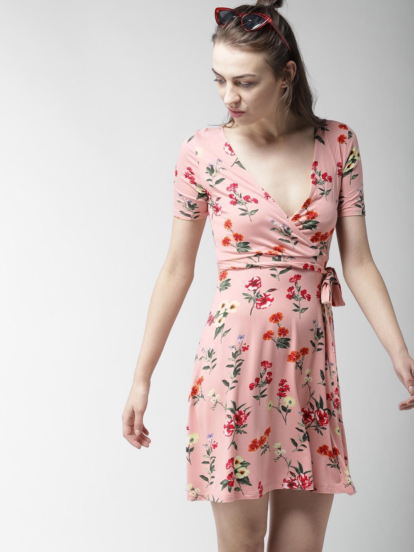d5b8b13ee17e Forever 21 Women Pink Fl Print Wrap Dress Dresses For