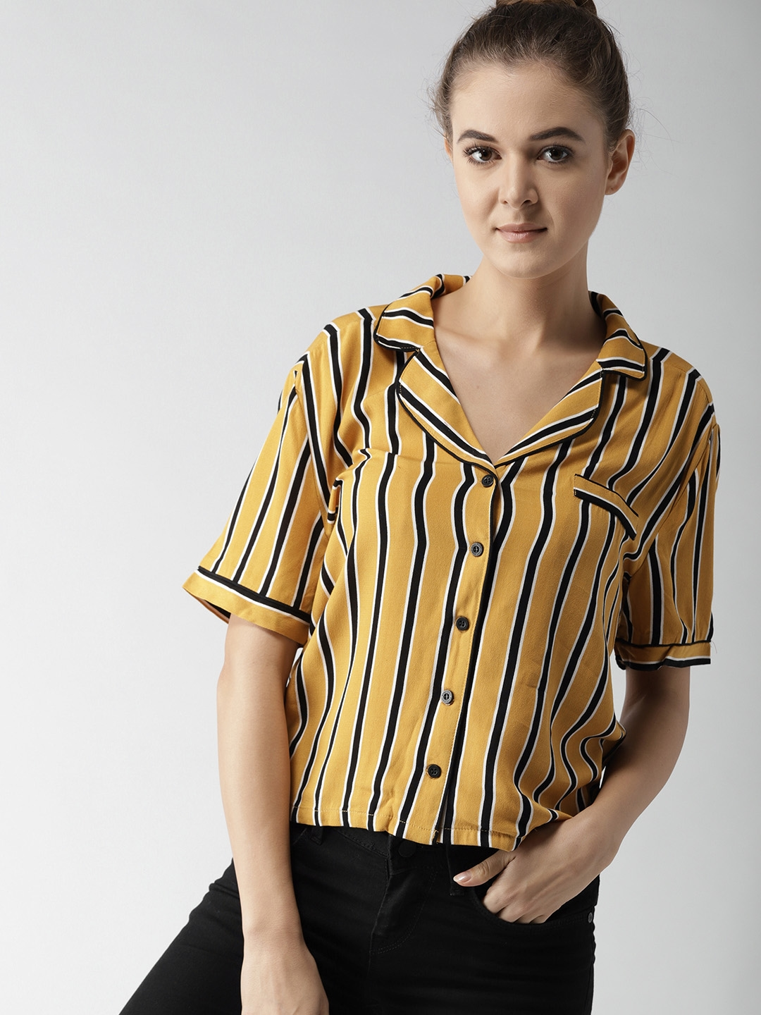 495cbbf4e46 FOREVER 21 Women Mustard Yellow   Black Regular Fit Striped Casual Shirt