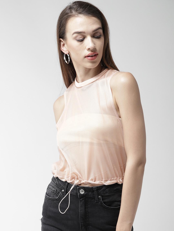 5694fe6c621b7 Buy FOREVER 21 Women Pink Sheer Mesh Crop Top - Tops for Women ...