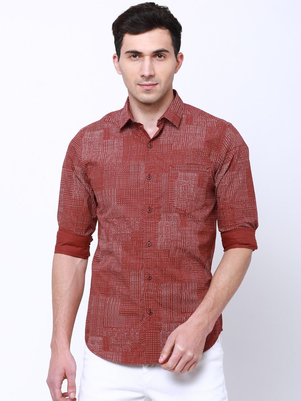 LOCOMOTIVE Men Rust Slim Fit Self Design Casual Shirt