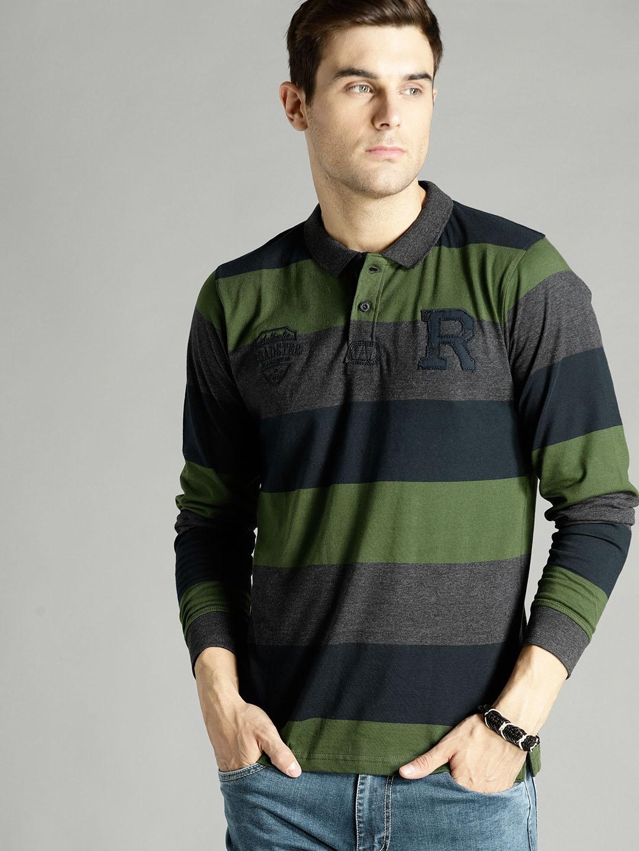 85ceeeee1d Buy Roadster Men Olive Green & Navy Blue Striped Polo Collar T Shirt ...