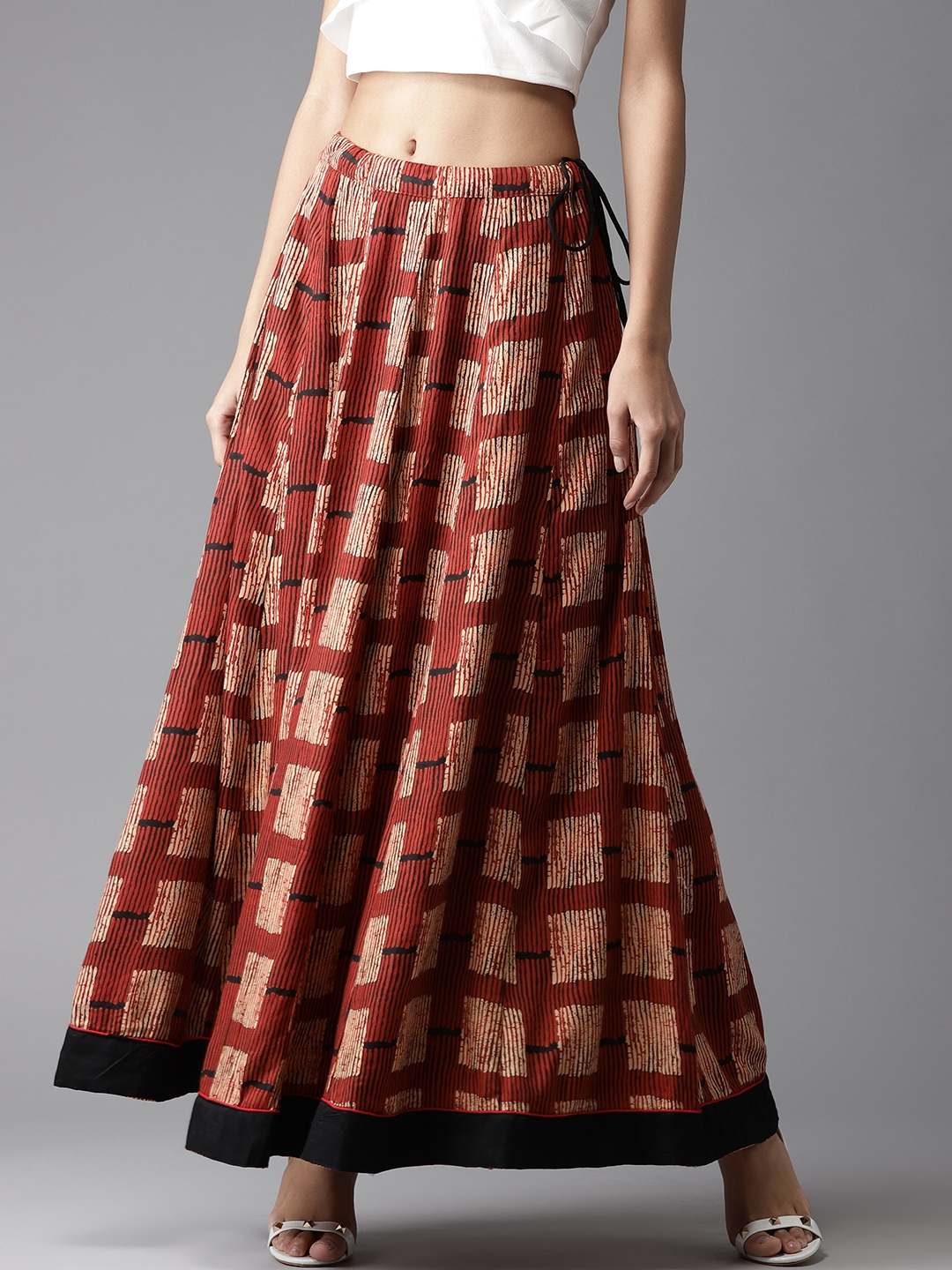 c2f0e31a5 Buy Moda Rapido Rust Red & Beige Printed Maxi Flared Skirt - Skirts ...