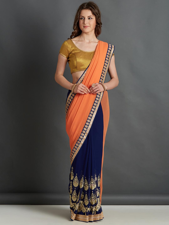 1a384a569d6198 Mitera Orange & Navy Blue Embroidered Saree