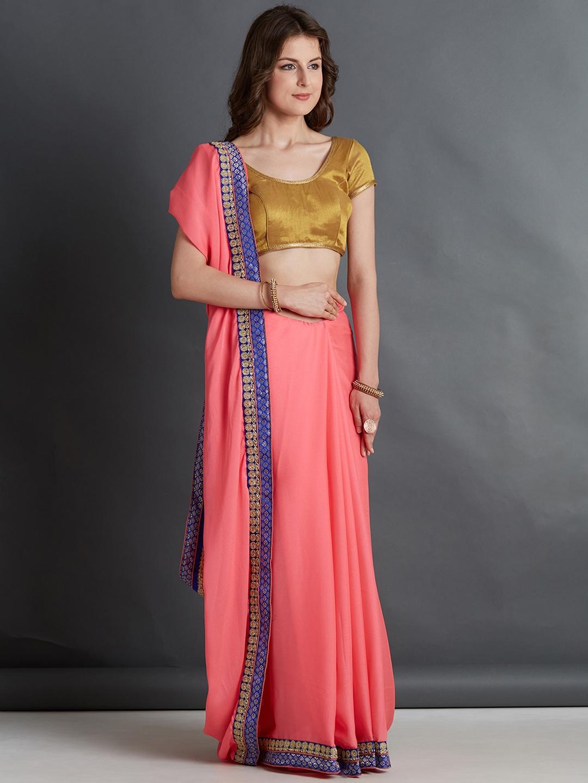df7ebc6dcd691f Buy Mitera Pink Embroidered Saree - Sarees for Women 4406386   Myntra