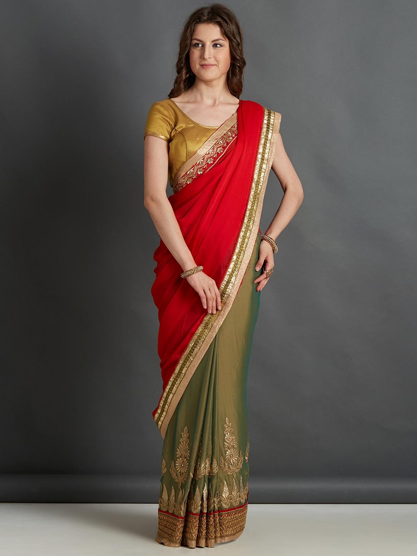 502e42f760fe94 Mitera Red & Green Embroidered Saree