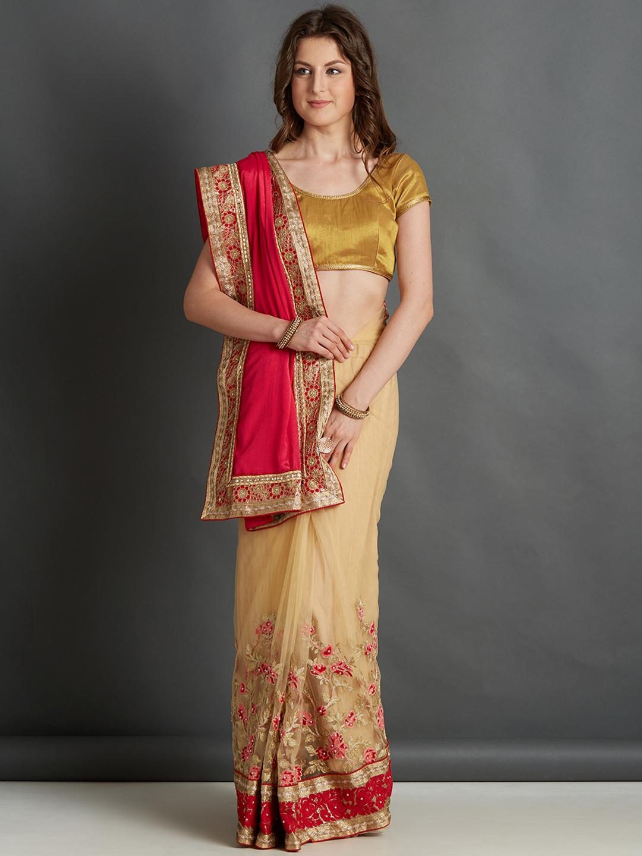 f234dbf83ca718 Buy Mitera Red & Beige Embroidered Saree - Sarees for Women 4406397 ...