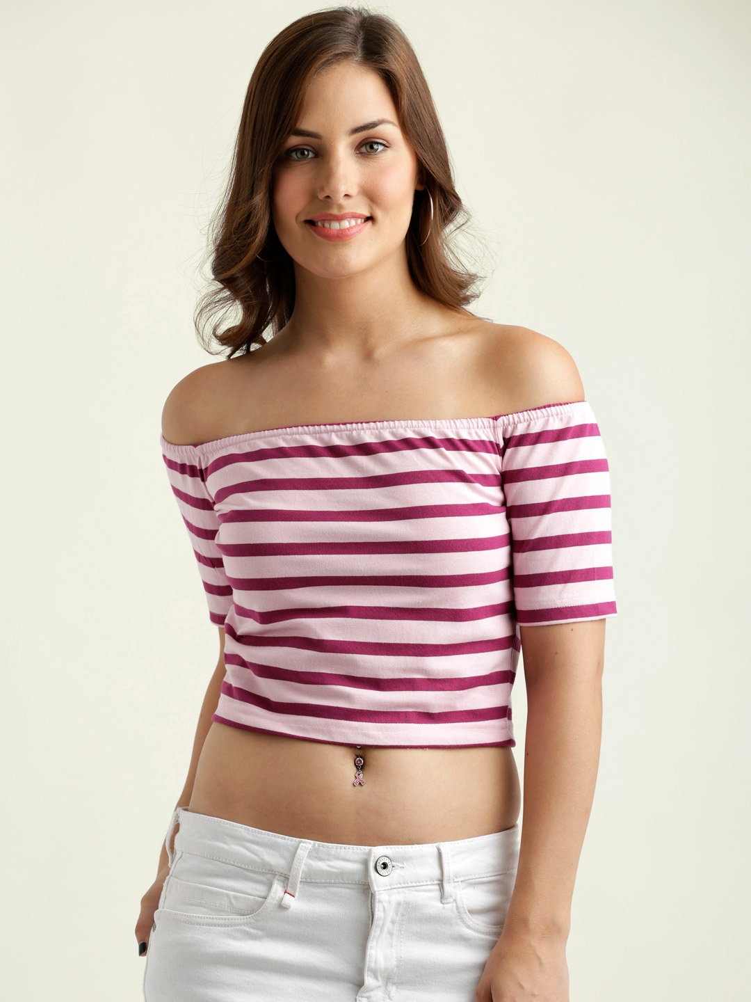 da227e7fe5c51a Buy Miss Chase Women Maroon   Pink Striped Bardot Top - Tops for ...