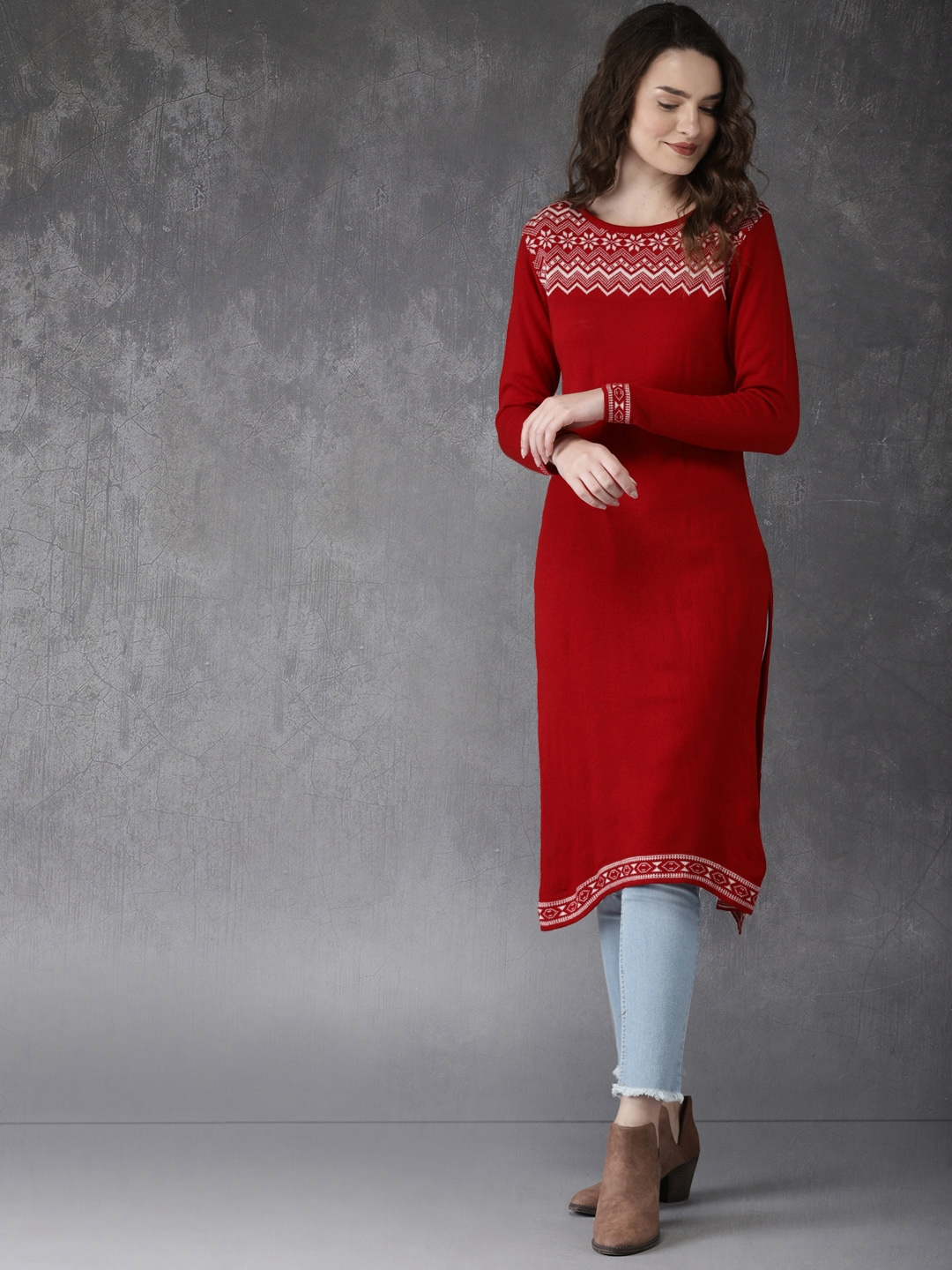 0b9c7372977 Buy Anouk Women Red Knitted Sweater Kurta - Kurtas for Women 4424288 ...