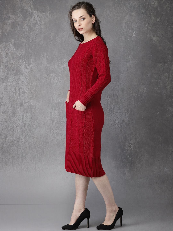 2d2fdbc7ea Buy Anouk Women Red Self Design Sweater Dress - Dresses for Women ...