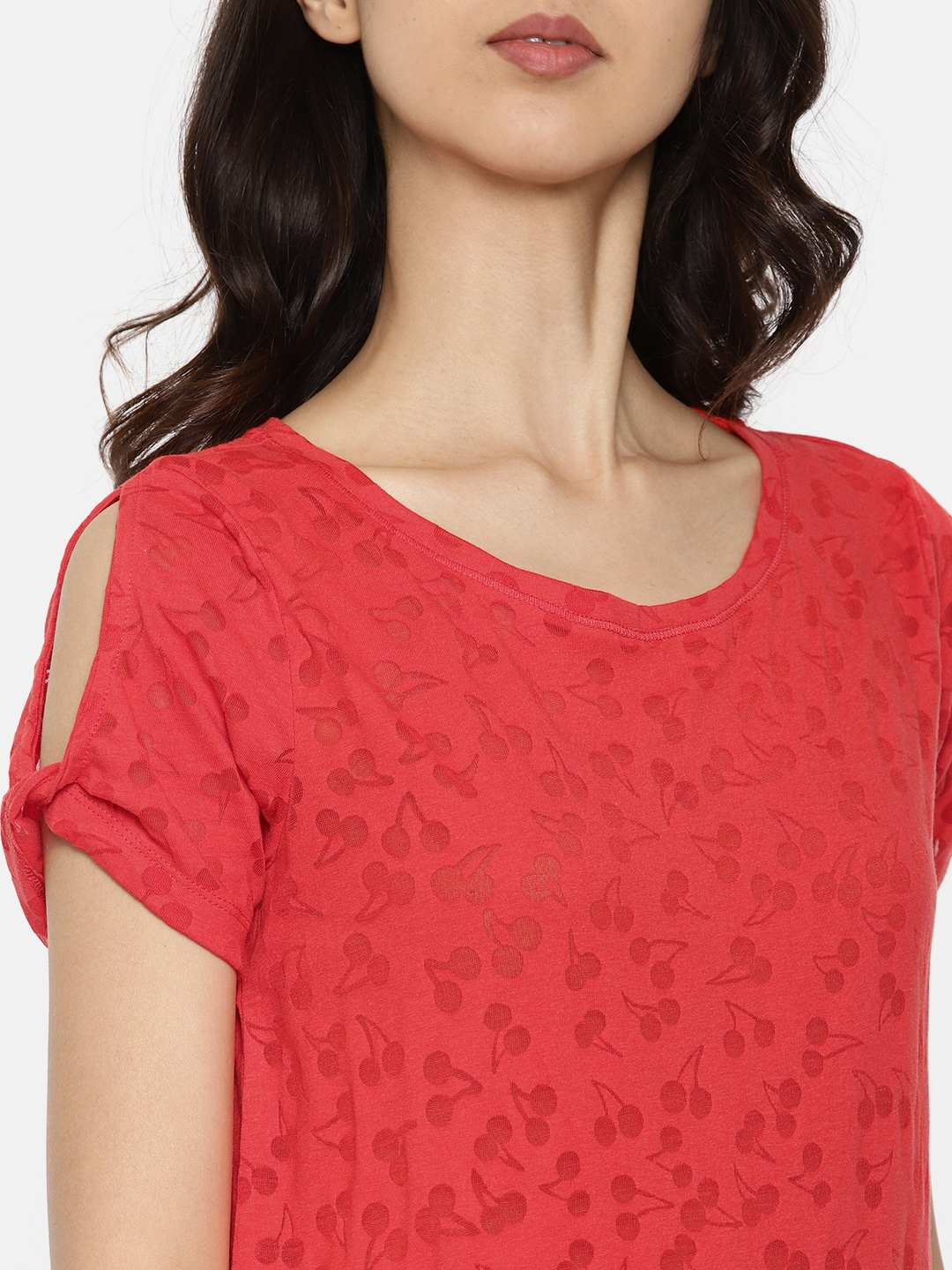d9f1f6b3e3539c Buy ONLY Women Red Self Design Round Neck Cold Shoulder T Shirt ...